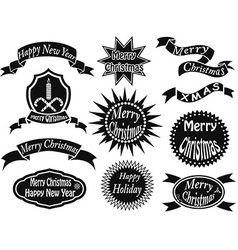 black christmas labels vector image vector image