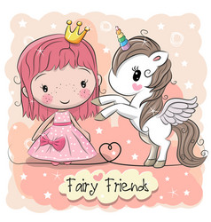 Cute cartoon fairy tale princess and unicorn vector