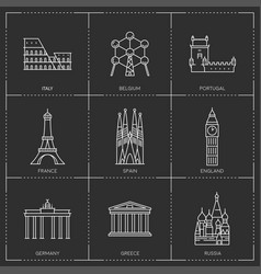 europe landmarks in outline style vector image