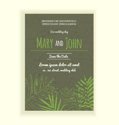 greenery wedding invitation card vector image