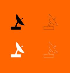 Satellite black and white set icon vector