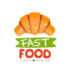fast food logo design badge with croissant sign vector image vector image