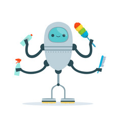 Multi armed housemaid android character cleaner vector