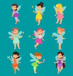 beautiful fairy princesses fairy wings fly vector image