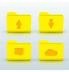 folders icons set on blue background Eps10 vector image