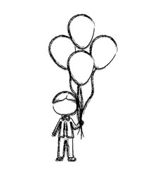 monochrome sketch of caricature faceless kid with vector image