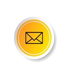 sticker in yellow color with letter envelope icon vector image
