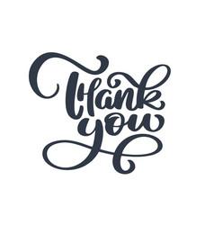 thank you handwritten inscription hand drawn vector image vector image