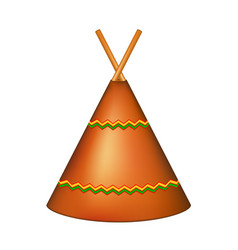 wigwam indian teepee in brown design vector image