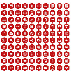 100 writer icons hexagon red vector