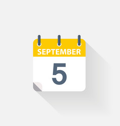 5 september calendar icon vector image