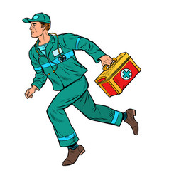 An ambulance doctor male medic with first aid kit vector