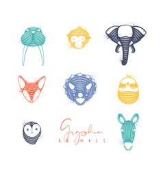 animals graphic authentic color vector image