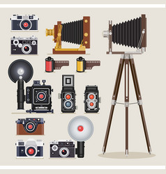 antique camera flat icons vector image