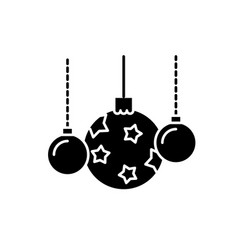 beautiful christmas balls black icon sign vector image