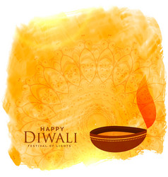 beautiful diwali background with diya and vector image