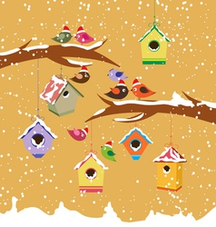 Birdhouse for christmas winter vector