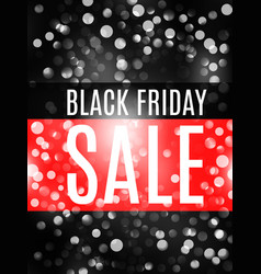 Black friday advertising banner with bokeh vector