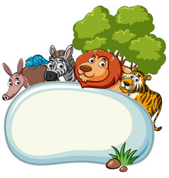 border template with wild animals vector image
