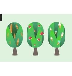 Braed watermelon and ice cream trees vector