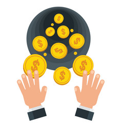 Businessman wasting coins vector