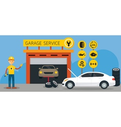 Car mechanic and garage service vector
