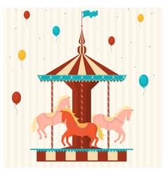 cartoon color merry go round carousel vector image