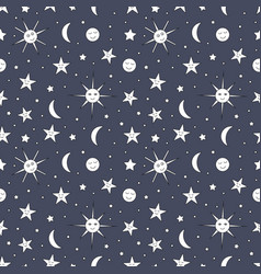 children seamless pattern of night sky with sun vector image