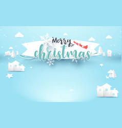 christmas calligraphy banner winter landscape town vector image