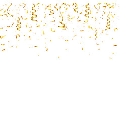 christmas golden confetti with ribbon falling vector image