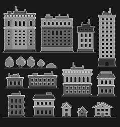 city building in monochrome flat style icons set vector image