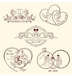 Collection of decorative wedding logo in retro vector image