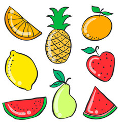 Colorful fruit various doodle style vector