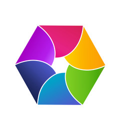 colorful hexagon shape icon vector image