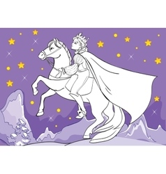 Coloring Book Of Prince Rides Horse At Night vector image