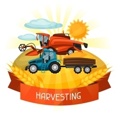 Combine harvester and tractor on wheat field vector image