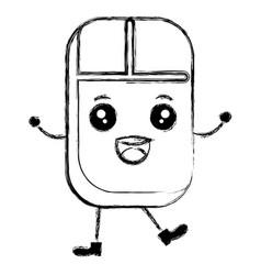 Computer mouse kawaii character vector