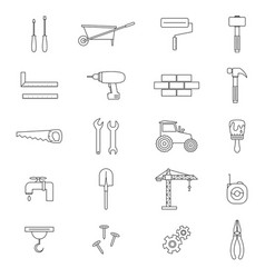 Construction black thin line icon set vector