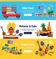 cuba travel banners set vector image