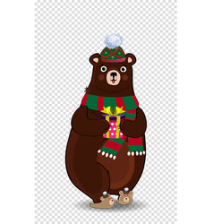 cute cartoon bear in knitted green hat and scarf vector image