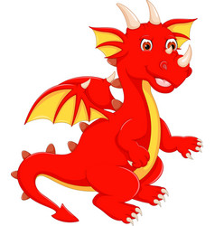 Cute dragon cartoon standing with waving vector