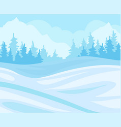 day in winter forest snowy landscape with fir vector image