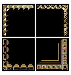 Decorative frame corner gold material filigree vector