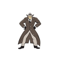 Detective Trenchcoat Hands Akimbo Cartoon vector