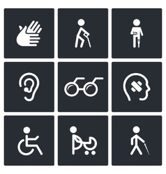 Disability Icons Set vector