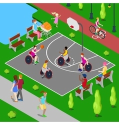 Disabled People Playing Basketball in the Park vector