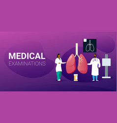 Doctors team examining human lungs medical vector