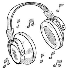 doodle headphones vector image