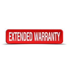 Extended warranty red 3d square button isolated vector