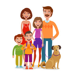 family portrait happy people children parents vector image